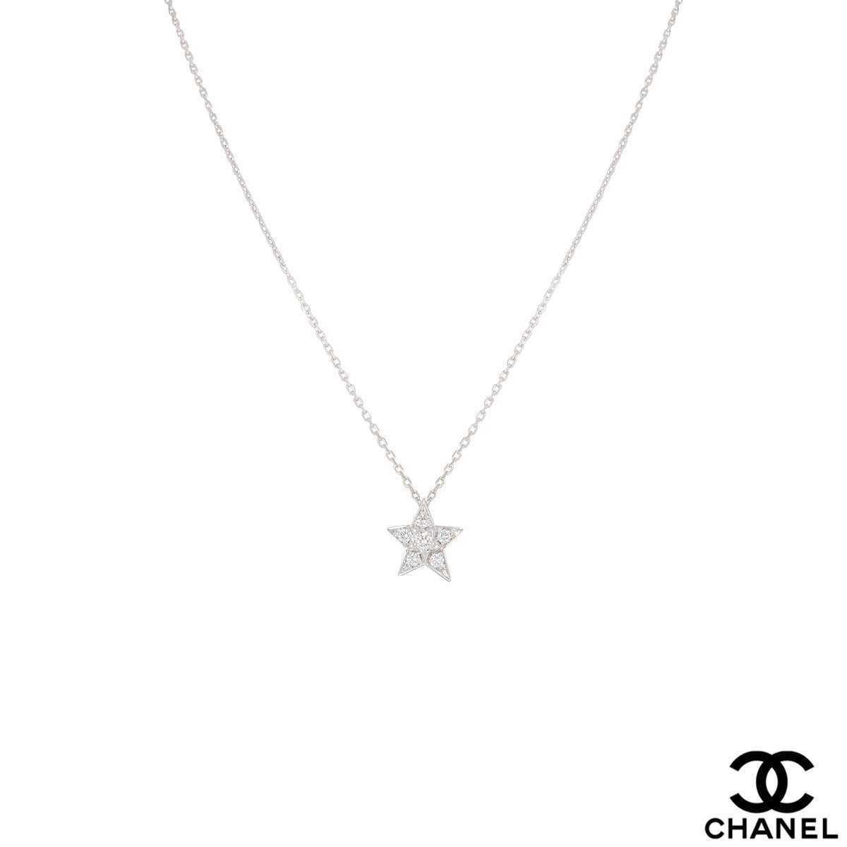 Chanel White Gold Diamond Comete Pendant 0.22ct J2709